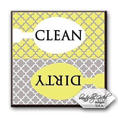 Clean Dirty Dishwasher Magnet Sign Best for Dishes - Cute Elegant Quatrefoil Moroccan Trellis Modern Pattern -YELLOW GREY - 2.5 x 2.5 - Housewarming, Bridal Registry & Gag Gift Idea Stocking Stuffers