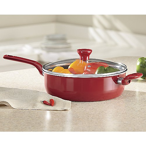 T-fal C5143364 Excite Nonstick Thermo-Spot Dishwasher Safe Oven Safe PFOA Free Jumbo Cooker Cookware, 4.5-Quart, Red (Jumbo Cooker)