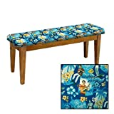 Shaker Design - Oak Dining Bench with a Padded Seat Cushion Featuring Your Favorite Novelty Themed Fabric (Elvis Blue Hawaii)