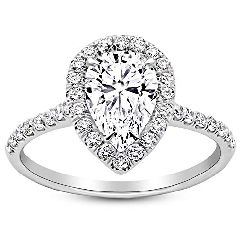 2.5 Ctw Platinum Halo Pear Cut Diamond Engagement Ring (2 Ct K Color SI2 Clarity Center Stone) ()