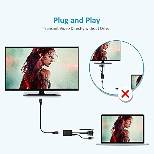 Ankey VGA to HDMI Output, VGA to HDMI Adapter Converter with Audio Supports 1080P for Connecting PC, Laptop, Notebook to HDTV, Displays, Monitor (Black) by Ankey (Image #5)