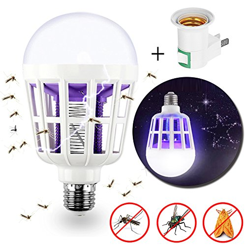 Bug Zapper Light Bulb - 2 in 1 Mosquito Killer Lamp - Powerful Electronic Insect & Fly Killer Built in Insect Trap - Fits in 110V E26E27 Light Bulb Socket - Ideal IndoorOutdoorPorch Patio