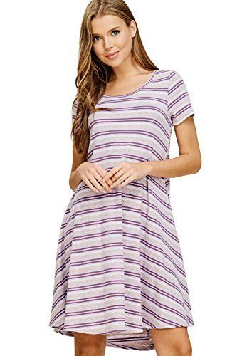 (Annabelle Women's Knit Rib Stripe Flowy Swing Midi Dress Lavender Small D5454)