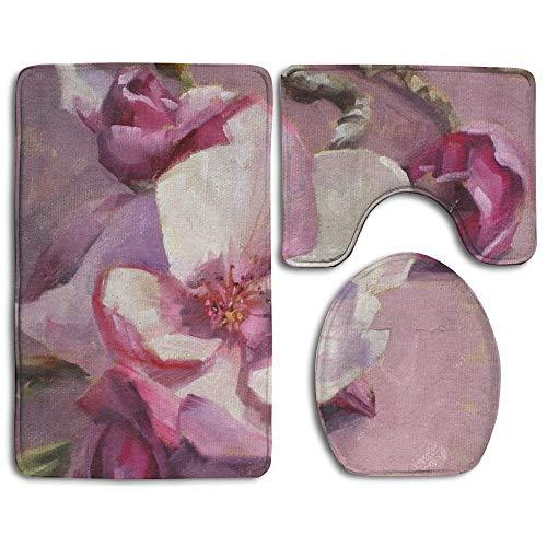 (Non Slip Bathroom Rug Toilet Sets, Pink Magnolia Blossom Painting Fashion Bathroom Rug Mats Set 3 Piece Anti-Skid Pads Bath Mat + Contour + Toilet Lid Cover)