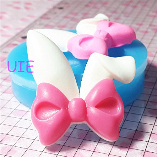 012LBF Bunny Ear with Bow Silicone Mold Kawaii Animal Cabochon Decoden Supplies DIY Cell Phone Deco Jewelry Making Scrapbooking