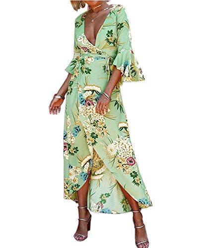 AELSON Women's Boho V Neck Floral Chiffon Wrap Split Long Maxi Dress