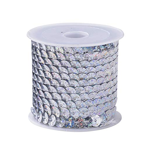 arricraft 25 Rolls Laser Silver White Flat Round Spangle Sequin Paillette Beads Trim Spool String Ornament Accessories, About 6mm(1/4 inch) Wide