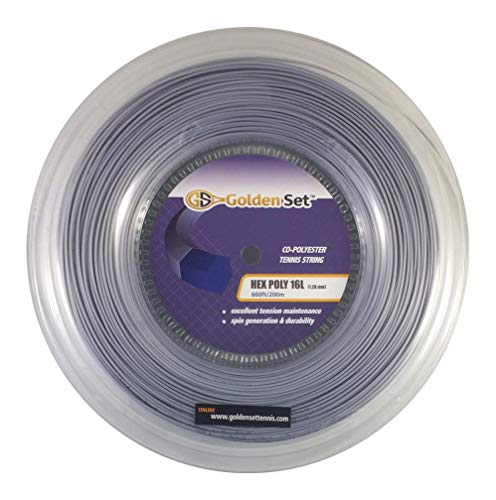 Golden Set Hex Poly 16L (1.28mm), Reel (660ft/200m), Polyester Tennis String (Silver) (16 660' Tennis String Reels)
