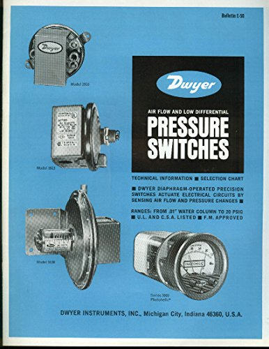 - Dwyer Air Flow & Low Differential Pressure Switches catalog E-50 1974