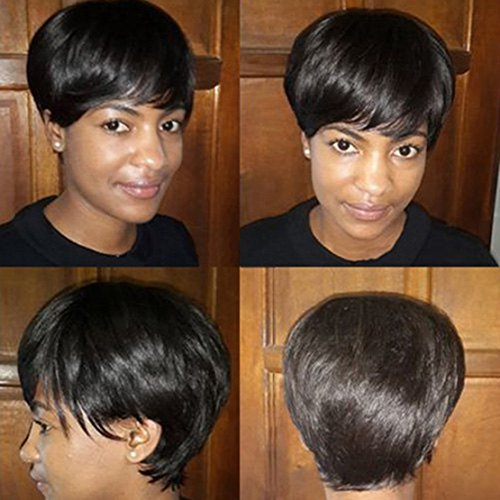 10 Inches 100% Real Human Hair Short Black Natural Straight Real Hair Wigs with Bangs for Black (Cheap Coloured Wigs)