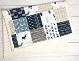 Minky Baby Blanket, Woodland Deer style in tan, Navy and Gray, 28
