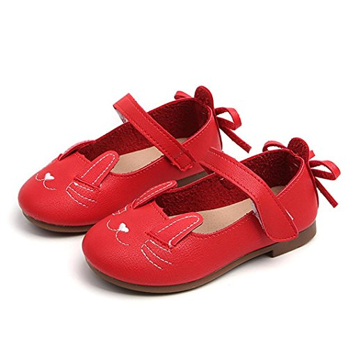 le Girls Cat Dance Nubuck Ballet Flats Princess Mary Jane Slip On Ballerina Loafer Leather Shoes (5.5M US Toddler, Red) (Toddler Red Nubuck Kids Shoes)