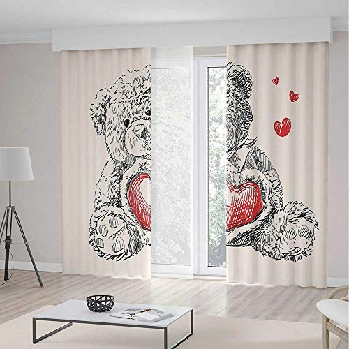 ut Curtains,Detailed Teddy Bear Drawing Heart Instead a Belly Mini Floating Hearts Decorative,Living Room Bedroom Curtain 2 Panels Set,157 W 84 L,Red Black White ()