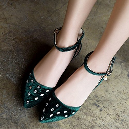 SJJH Sandals with Chunky Heel and Pointed Toe Women Velvet Shoes with Large Green vPeRVc0lRz