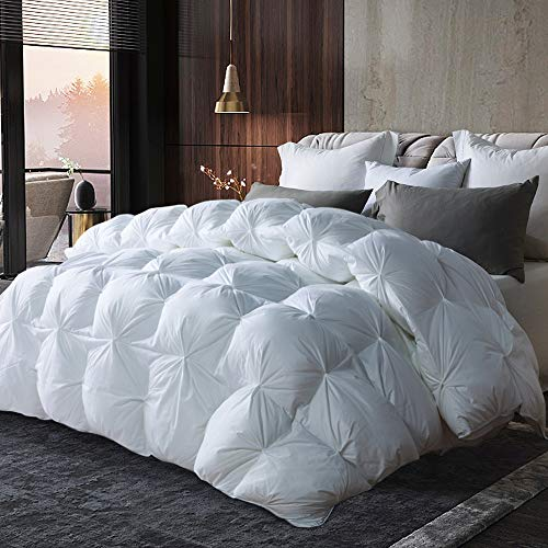 Luxurious All-season Goose Down Comforter Queen Size Duvet Insert Pinch Pleat Design, 1200 Thread Count 100% Cotton Shell Hypo-allergenic Down Proof with Tabs, 750+ Fill Power, Grey Piping,White Solid