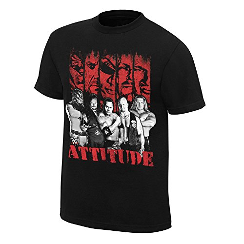 Attitude Era Rock Stone Cold Undertaker WWE Mens Black T-shirt-3XL by WWE