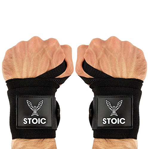 Stoic Wrist Wraps Weightlifting, Powerlifting, Cross Training, Bodybuilding with Thumb Loop. Professional Grade for Gym Workout, Men and Women Weight Lifting and Strength Training Black 18 - Wrap Wrist Training