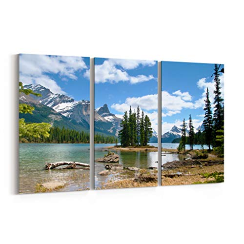 Spirit Island Canvas Print Spirit Island Canvas Art Spirit Island Wall Art Canvas Multiple Sizes Gallery Wrapped Canvas on Pine Wooden Frame Jasper National Park - Wooden Jasper
