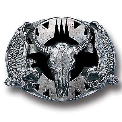 Belt Buckle - Buffalo Skull/Eagles (Diamond Cut)