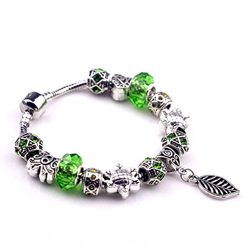 [BENNINGCO Green Handmade Crytal with Leaf Pendant Charm Chain Bracelet(Size,17CM)] (Diy Pageant Girl Costume)