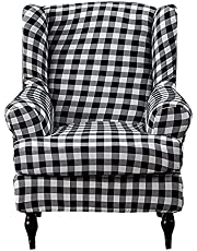 Wing Chair Slipcovers 2 Pieces Stretch Spandex Wingback Chair Covers Sofa Slipcover Printing Wingback Armchair Slipcovers Furniture Protector Couch Soft with Elastic Bottom for Wingback Chairs