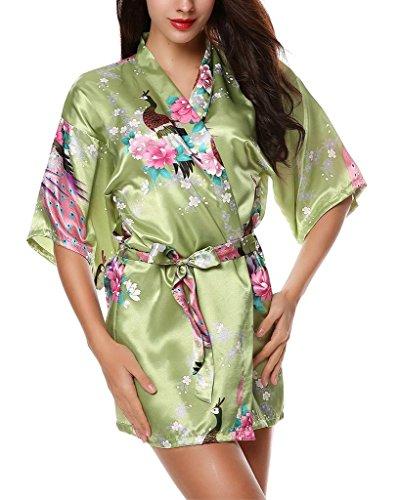 Yidarton Damen Morgenmantel Kimono Robe Bademantel Nachtwäsche kurz aus Satin mit Peacock und Blüten entwerfen knielangen Robe für Hochzeit & Party & Schlafzimmer