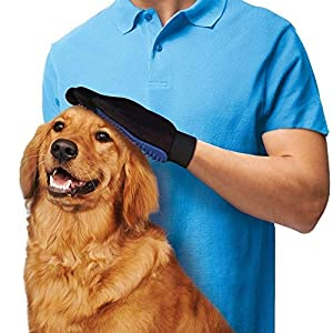 1 pair True Touch Deshedding Brush Glove Pet Dog Cat Gentle Efficient Massage Grooming, L&R