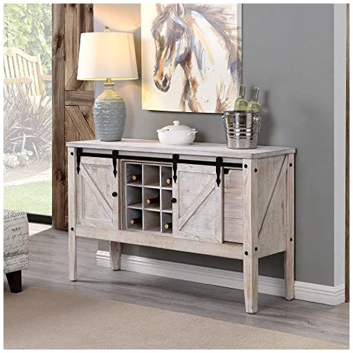 Farmhouse Buffet Sideboards FirsTime & Co. Quincy Farmhouse Barn Door Buffet and Wine Console Table, American Crafted, Aged White, 47 x 15 x 30 farmhouse buffet sideboards