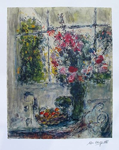 Art by Marc Chagall Fruits And Flowers Limited Edition Lithograph Print. After the Original Painting or Drawing. Measures 33 Inches X 22½