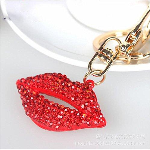 ZHJZ Llavero Labios Rojos en Forma de Diamante de imitación ...