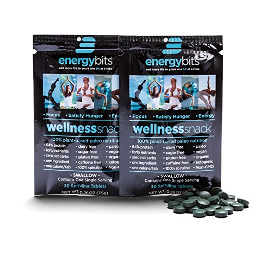 ENERGYbits Pure Spirulina Tablets - Pack of 2 Single Servings (7500mg per Serving) - Non-GMO, Non-Irradiated, Raw, Blue Green Algae - Keto, Vegan Friendly