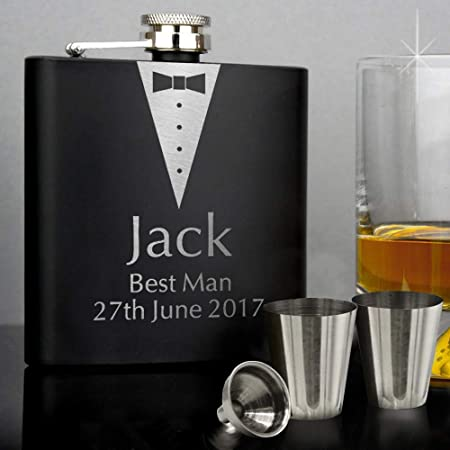 Hip Flask 6oz Personalised Hip Flasks set Engraved Free and Free Gift Box