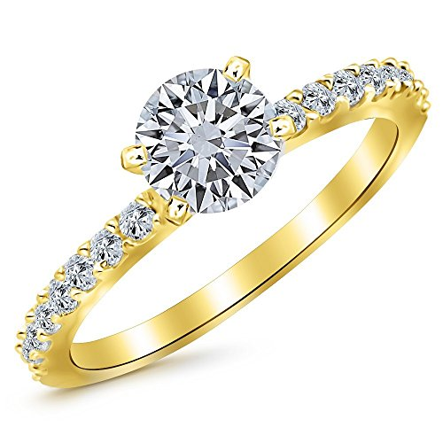 0.55 Cttw 14K Yellow Gold Round Cut Classic Side Stone Pave Set Diamond Engagement Ring with a 0.25 Carat J-K Color SI1-SI2 Clarity (0.25 Ct Center Stone)