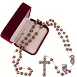 C BC Catholic Large Pink Cloisonne Rosary Beads Silver Colour Chain + Crucifix in Box