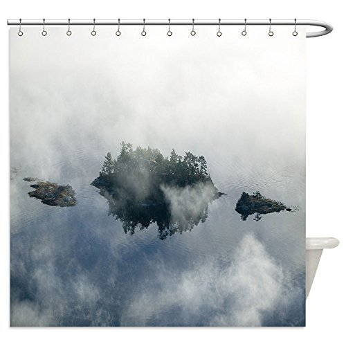 Vanfan Shower Curtains aerial view of fog in autumn over islands and hills north of portland maine 108402866 For Bathroom (Halloween Costumes Portland Or)