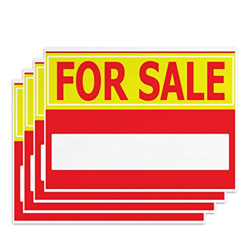For Sale Signs - 4 Pieces - Rust Free - Clear And Visible Text - Light Tough Long-Lasting - With A Space to Handwrite What is for Sale - Use To Sell House Estate Car or Items in Retail Stores