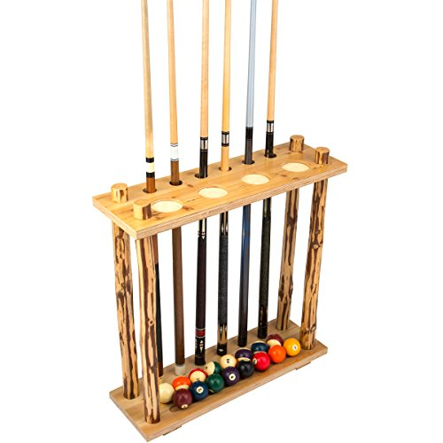 (Rush Creek Creations Rustic Log 6 Billiard Cue Storage Rack - No Tool Assembly - Handcrafted Solid Pine)
