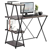 GreenForest Computer Desk with Shelves 43 Inch Writing Desk Workstation with 4-Tier Bookcase, Walnut