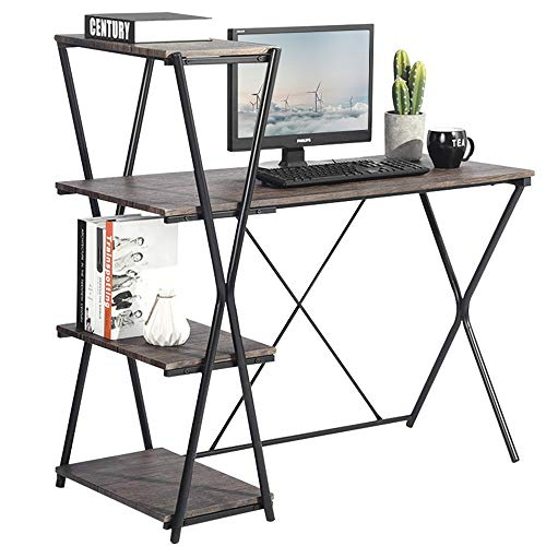 GreenForest Computer Desk with Shelves 43 Inch Writing Desk Workstation with 4-Tier Bookcase, ()