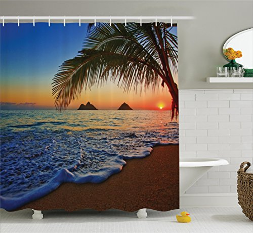Ambesonne Hawaiian Decor Shower Curtain, Palm Tree Shore Caribbean Mist Honeymoon Traveling Resort Scenic Sunset Image, Fabric Bathroom Decor Set with Hooks, 84 inches Extra Long, Blue and Ivory by Ambesonne