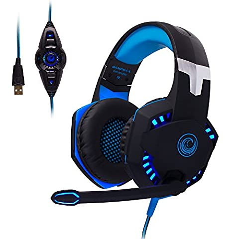 FHP-G1420B Comfortable Professional 7.1 Stereo Surround Sound Haptic Feedback Headphones w/ LED lighting, Boom Mic, In-Line Audio Controller & USB Powered for Gaming Laptops or (Gigabyte Z97 Black Edition)