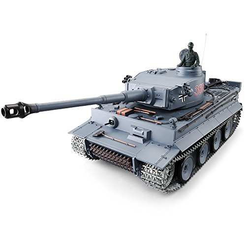 Heng Long Pro Edition TK6.0 RC Tank 1:16 German Tiger I RC Heavy Tank w/ Infrared Battle System, Remote Control 2.4Ghz RC Tanks That Shoot Airsoft BBS, Steel Alloy Gearbox, Metal Wheels Tracks ()