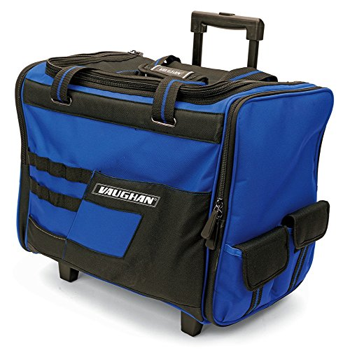 Vaughan 050024 18' Wide Mouth Rolling Tool Storage Organizer Bag with Telescoping Handle and Oversize Wheels