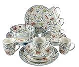 Tudor 24-Piece Premium Quality Round Porcelain Dinnerware Set, Service for 6 – BOTANICAL,See 10 Designs Inside!