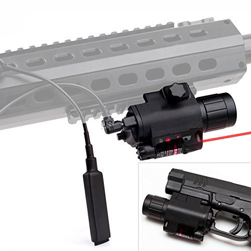 CISNO 2in 1 Tactical Flashlight Red Laser Sight Combo With Pressure Switch For Pistol Rifle Picatinny Weaver Rail by CISNO