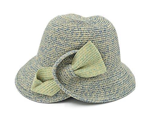 Melesh - Fashion Cloche Hat for Women Bucket Autumn Beach Sun Straw Hat (Blue - Mixed)