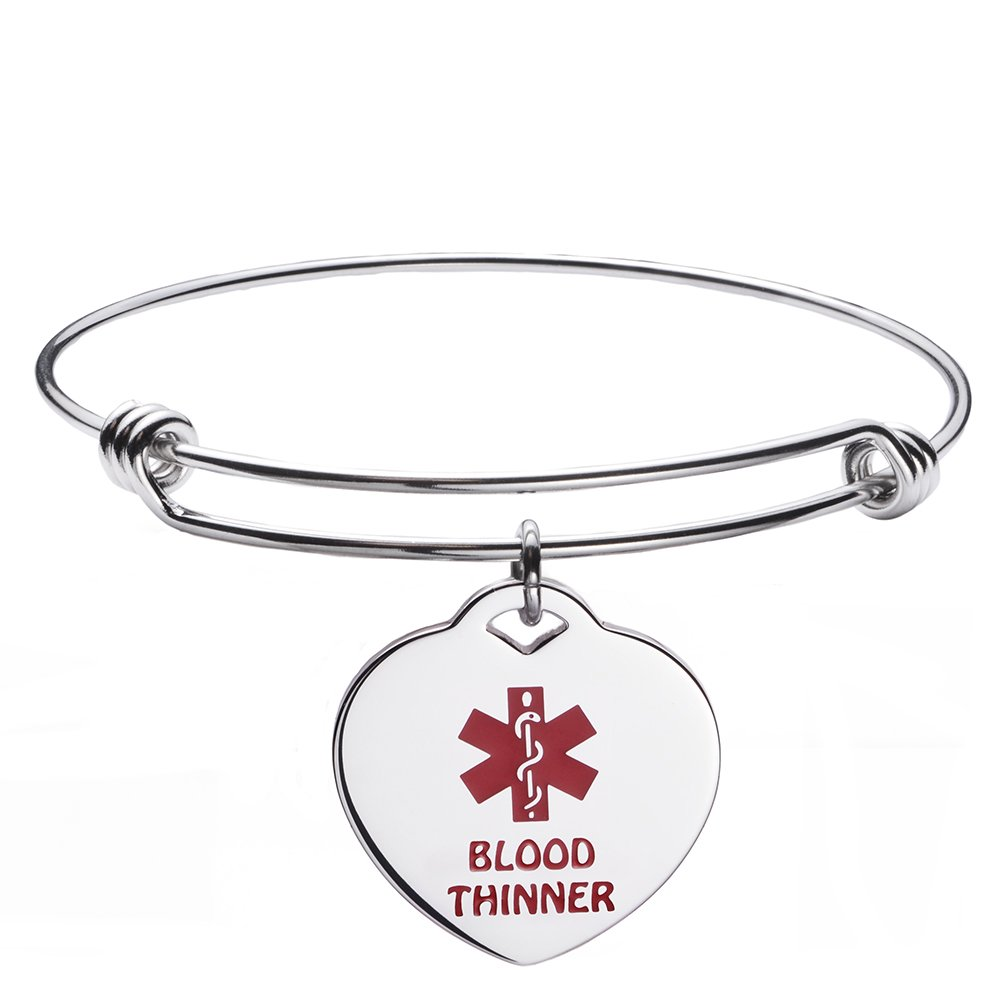 LinnaLove Pre-Engraving BLOOD THINNER Fashion Stainless steel Expandable bangle medical id bracelet for Women and Girls - Perfect gift