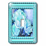3dRose LLC lsp_108106_1 Aquas and Blues Flowered Frame Floral Art Single Toggle Switch