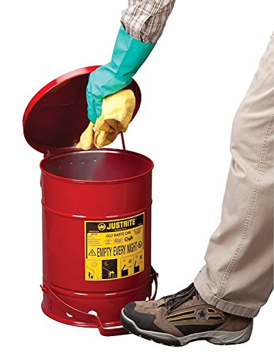 Justrite SoundGuard 09108 Galvanized Steel Oily Waste Safety Can with Foot Operated Cover, 6 Gallon Capacity, Red ()