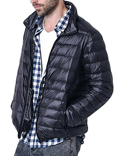 EKU Zip Outdoor Down Men's Jacket Packable Up Coat Puffer US Black M ZrqZ4R